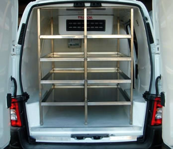 Van refrigerator chamber with shelves for catering, sweets and ice cream